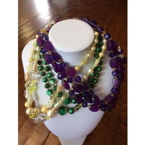 3 Vtg DOUBLE STRAND BEADED NECKLACES